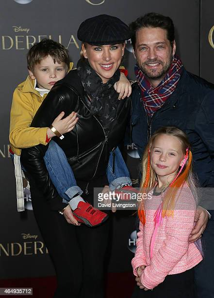 Actor Jason Priestley wife Naomi LowdePriestley and children Dashiell Orson Priestley and Ava Veronica Priestley attend the premiere of Disney's...