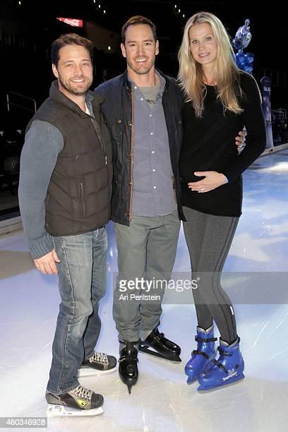 Actor Jason Priestly actor MarkPaul Gosselaar and Catriona Gosselaar attend Disney On Ice Presents Let's Celebrate Presented By Stonyfield YoKids...