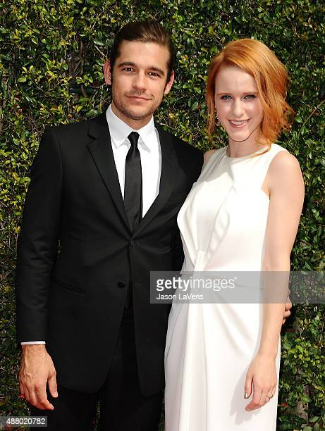 Actor Jason Ralph and actress Rachel Brosnahan attend the 2015 Creative Arts Emmy Awards at Microsoft Theater on September 12 2015 in Los Angeles...