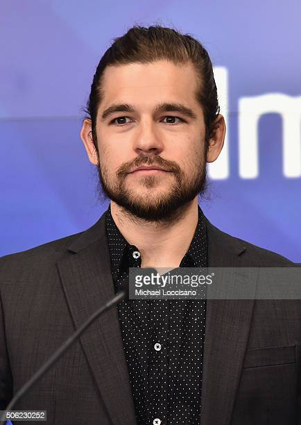 Actor Jason Ralph attends the Comcast Corporation and Syfy ringing of The Nasdaq Stock Market Opening Bell at NASDAQ MarketSite on January 22 2016 in...