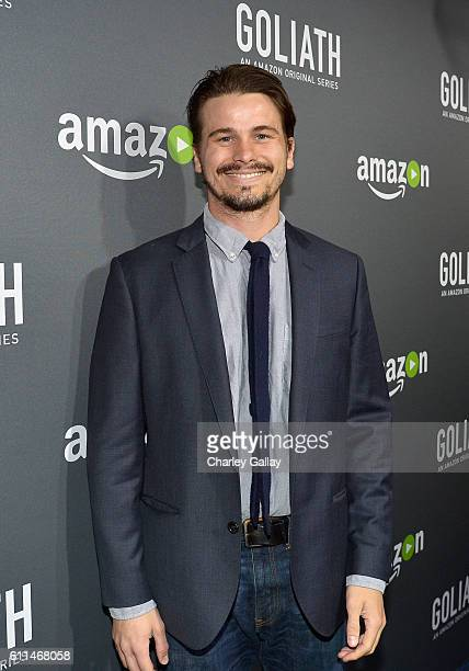 Actor Jason Ritter attends the Amazon red carpet premiere screening of original drama series Goliath at The London West Hollywood on September 29...