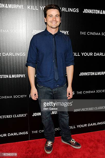 """Actor Jason Ritter attends The Cinema Society and Johnston & Murphy host a screening of Sony Pictures Classics' """"Kill Your Darlings"""" at the Paris..."""