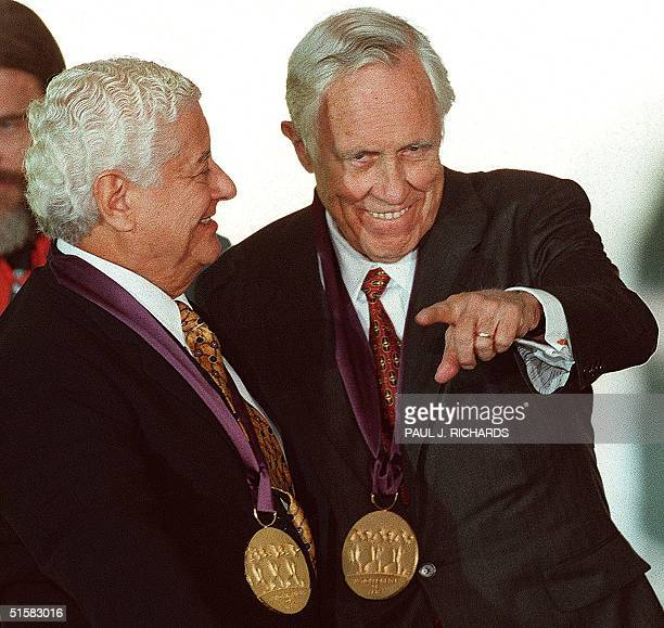 US actor Jason Robards and Latin percussionist Tito Puente are seen in this 29 September 1997 photo after receiving US Medals of the Arts at the...