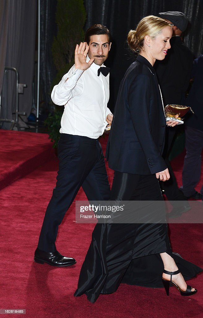Actor Jason Schwartzman (L) and Brady Cunningham depart the Oscars at Hollywood & Highland Center on February 24, 2013 in Hollywood, California.