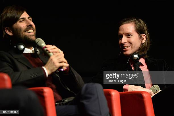 Actor Jason Schwartzman and director Wes Anderson speak during the 8th Rome Film Festival at the Auditorium Parco Della Musica on November 13 2013 in...