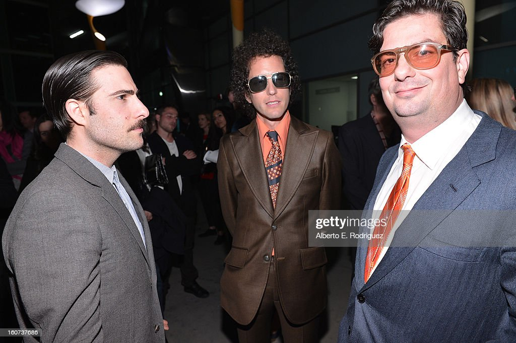 Actor Jason Schwartzman, composer Liam Hayes and Director Roman Coppola attend the Los Angeles premiere of A24's 'A Glimpse Inside The Mind Of Charles Swan III' at ArcLight Hollywood on February 4, 2013 in Hollywood, California.