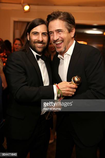 Actor Jason Schwartzman cowinner of the Best Television Series Musical or Comedy award for 'Mozart in the Jungle' and actor Dermot Mulroney attend...