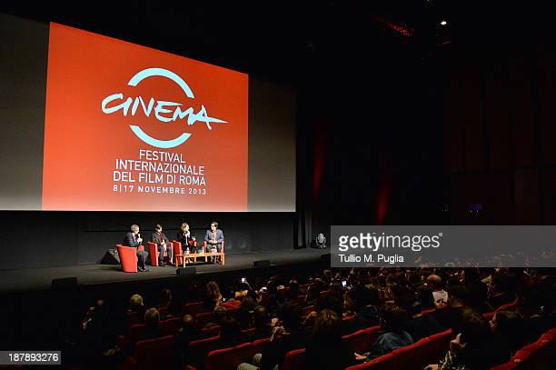 Actor Jason Schwartzman director Wes Anderson and Roman Coppola attend the Wes Anderson Roman Coppola Meet the Audience event during the 8th Rome...