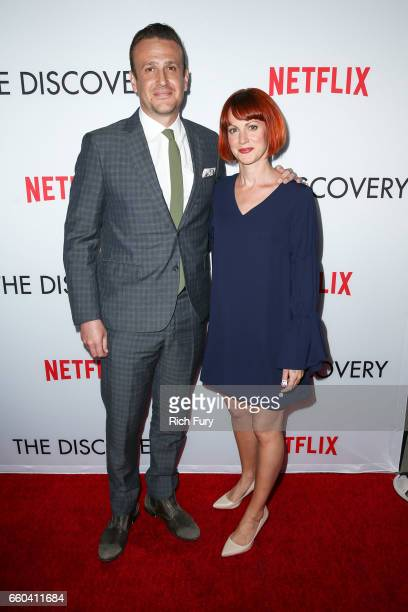 Actor Jason Segel and Alexis Mixter arrive at the premiere of Netflix's 'The Discovery' at the Vista Theatre on March 29 2017 in Los Angeles...
