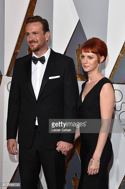 Actor Jason Segel and Alexis Mixter attend attends the 88th Annual Academy Awards at Hollywood Highland Center on February 28 2016 in Hollywood...
