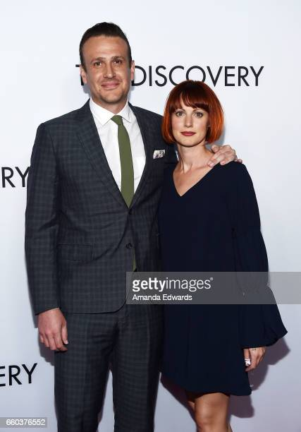 Actor Jason Segel and photographer Alexis Mixter arrive at the premiere of Netflix's 'The Discovery' at the Vista Theatre on March 29 2017 in Los...