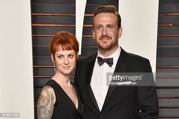 Actor Jason Segel and photographer Alexis Mixter attend the 2016 Vanity Fair Oscar Party Hosted By Graydon Carter at the Wallis Annenberg Center for...