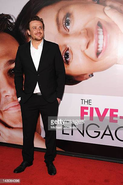 Actor Jason Segel walks walks the red carpet at the 'The Five Year Engagement' Premiere during the 2012 Tribeca Film Festival at the Ziegfeld Theatre...