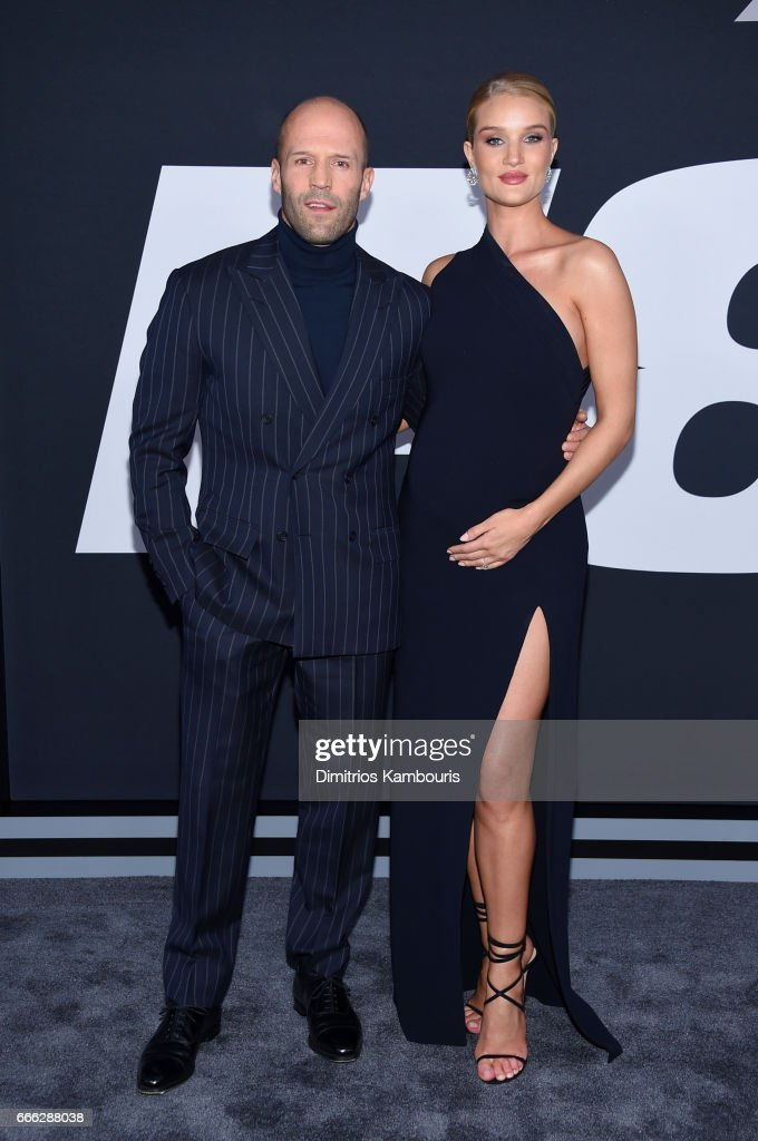 Actor Jason Statham and Model Rosie-Huntington-Whiteley attend 'The Fate Of The Furious' New York Premiere at Radio City Music Hall on April 8, 2017 in New York City.