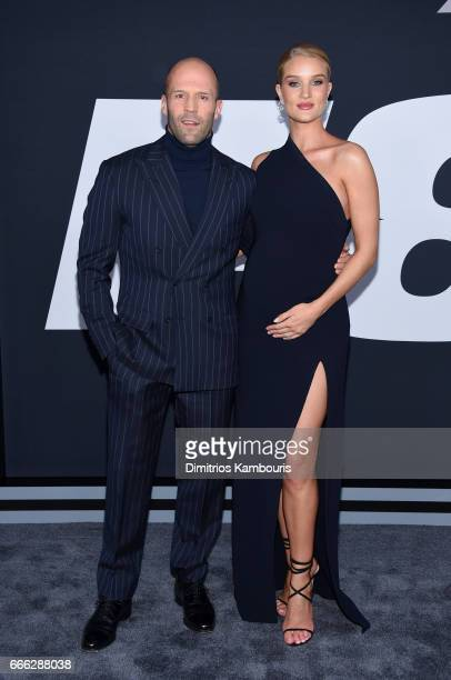 Actor Jason Statham and Model RosieHuntingtonWhiteley attend 'The Fate Of The Furious' New York Premiere at Radio City Music Hall on April 8 2017 in...