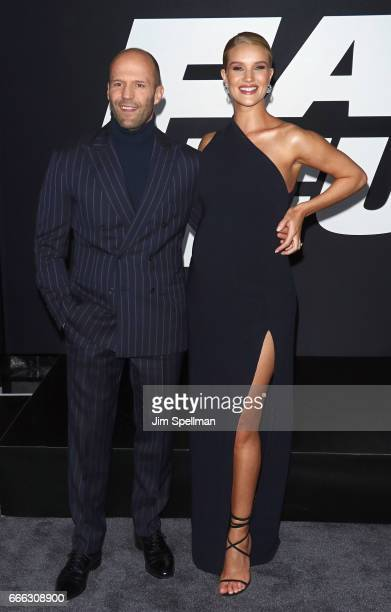 Actor Jason Statham and modelRosie HuntingtonWhiteley attend 'The Fate Of The Furious' New York premiere at Radio City Music Hall on April 8 2017 in...