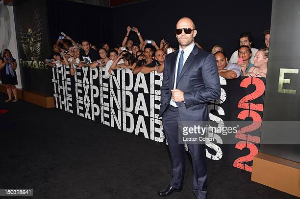 Actor Jason Statham arrives at 'The Expendables 2' Los Angeles Premiere at Grauman's Chinese Theatre on August 15 2012 in Hollywood California
