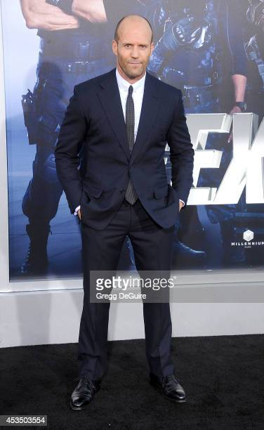 Actor Jason Statham arrives at the Los Angeles premiere of 'The Expendables 3' at TCL Chinese Theatre on August 11 2014 in Hollywood California