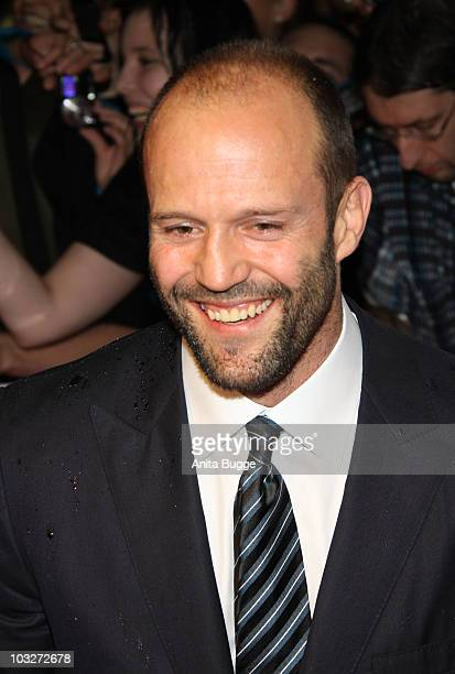 Actor Jason Statham attends the Germany Premiere of 'The Expendables' at the Astor Film Lounge movie theater on August 6 2010 in Berlin Germany