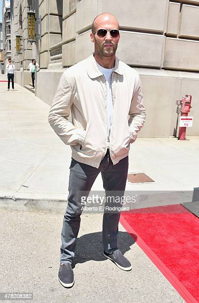 Actor Jason Statham attends the premiere press event for the new Universal Studios Hollywood Ride Fast FuriousSupercharged at Universal Studios...