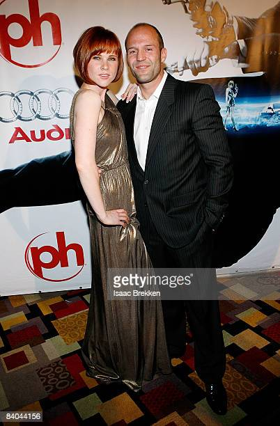 Actor Jason Statham right and Natalya Rudakova arrive at Planet Hollywood Resort Casino's Transporter 3 premiere on November 21 2008 in Las Vegas...