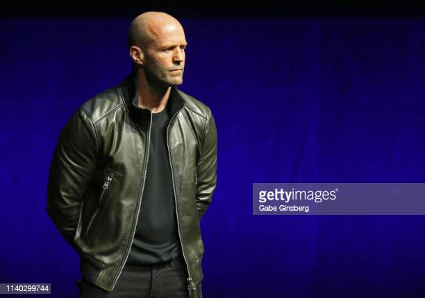 Actor Jason Statham speaks during Universal Pictures special presentation during CinemaCon at The Colosseum at Caesars Palace on April 03 2019 in Las...
