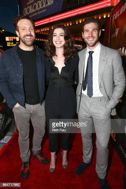 Actor Jason Sudeikis actress Anne Hathaway and actor Austin Stowell arrive at the premiere of Neon's Colossal at the Vista Theatre on April 4 2017 in...