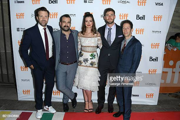 Actor Jason Sudeikis director Nacho Vigalondo actors Anne Hathaway Austin Stowell and Tim Blake Nelson attend the Colossal premiere during the 2016...