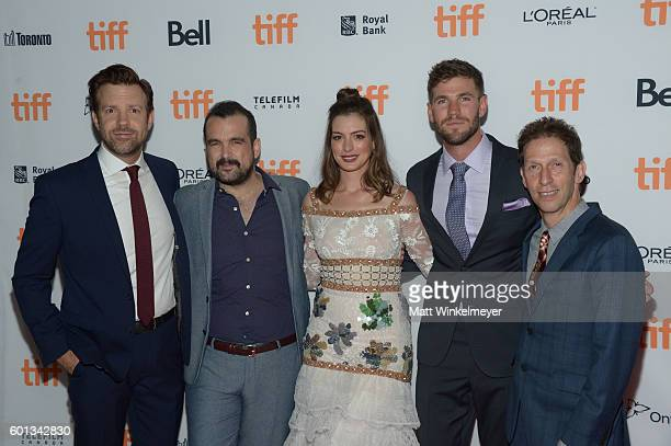 Actor Jason Sudeikis Director/Writer Nacho Vigalondo Actors Anne Hathaway Austin Stowell and Tim Blake Nelson attend the 'Colossal' premiere during...