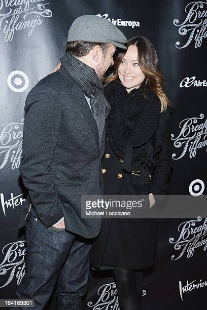 Actor Jason Sudekis and fiancee actress Olivia Wilde attend the 'Breakfast At Tiffany's' Broadway Opening Night at Cort Theatre on March 20 2013 in...