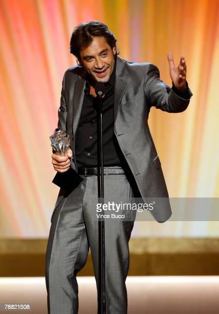 Actor Javier Bardem accepts the award for 'Best Supporting Actor' for 'No Country for Old Men' onstage during the 13th annual Critics' Choice Awards...
