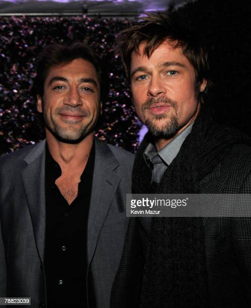 Actor Javier Bardem and Actor Brad Pitt inside at the 13th ANNUAL CRITICS' CHOICE AWARDS at the Santa Monica Civic Auditorium on January 7, 2008 in...
