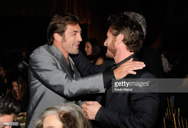 Actor Javier Bardem and Actor Sean Penn inside at the 13th ANNUAL CRITICS' CHOICE AWARDS at the Santa Monica Civic Auditorium on January 7, 2008 in...