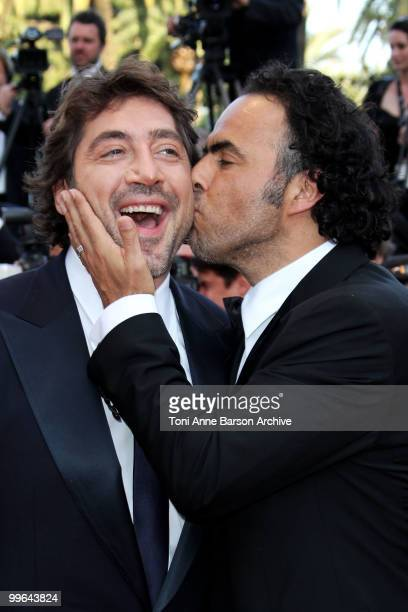 Actor Javier Bardem and director Alejandro Gonzalez Inarritu attend the premiere of 'Biutiful' held at the Palais des Festivals during the 63rd...