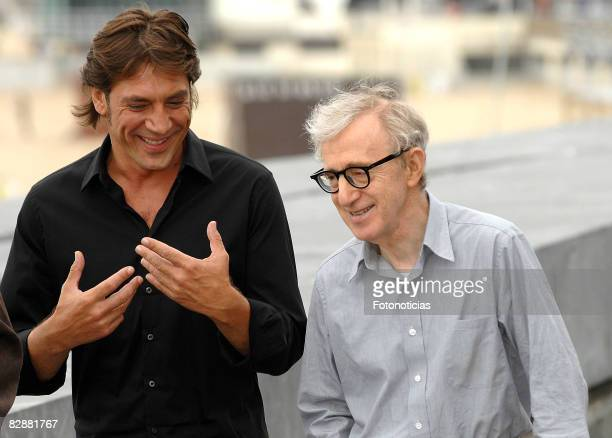 Actor Javier Bardem and director Woody Allen attend the photocall for 'Vicky Cristina Barcelona' at The Kursaal Palace during the 56th San Sebastian...