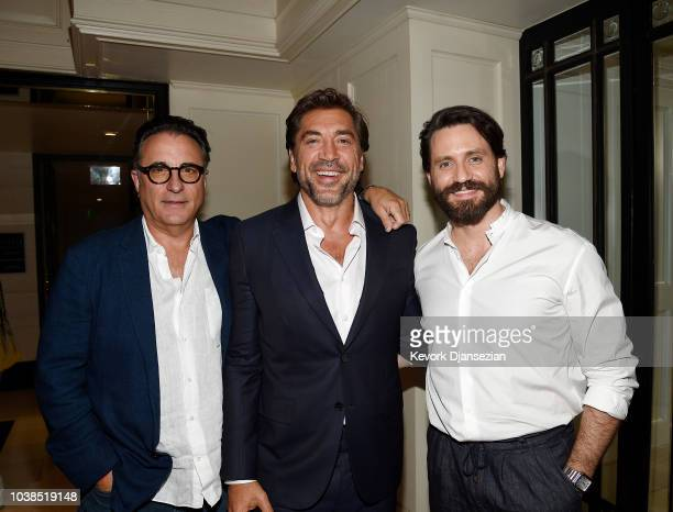 Actor Javier Bardem and guests actor Andy Garcia Edgar Ramirez pose during the Universal Pictures Home Entertainment Content Group's Loving Pablo...