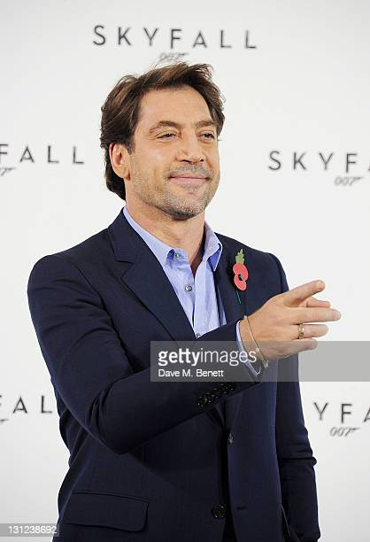 Actor Javier Bardem attends a photocall with cast and filmmakers to mark the start of production which is due to commence on the 23rd Bond Film and...