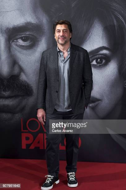 Actor Javier Bardem attends 'Loving Pablo' photocall at Melia Serrano Hotel on March 6 2018 in Madrid Spain