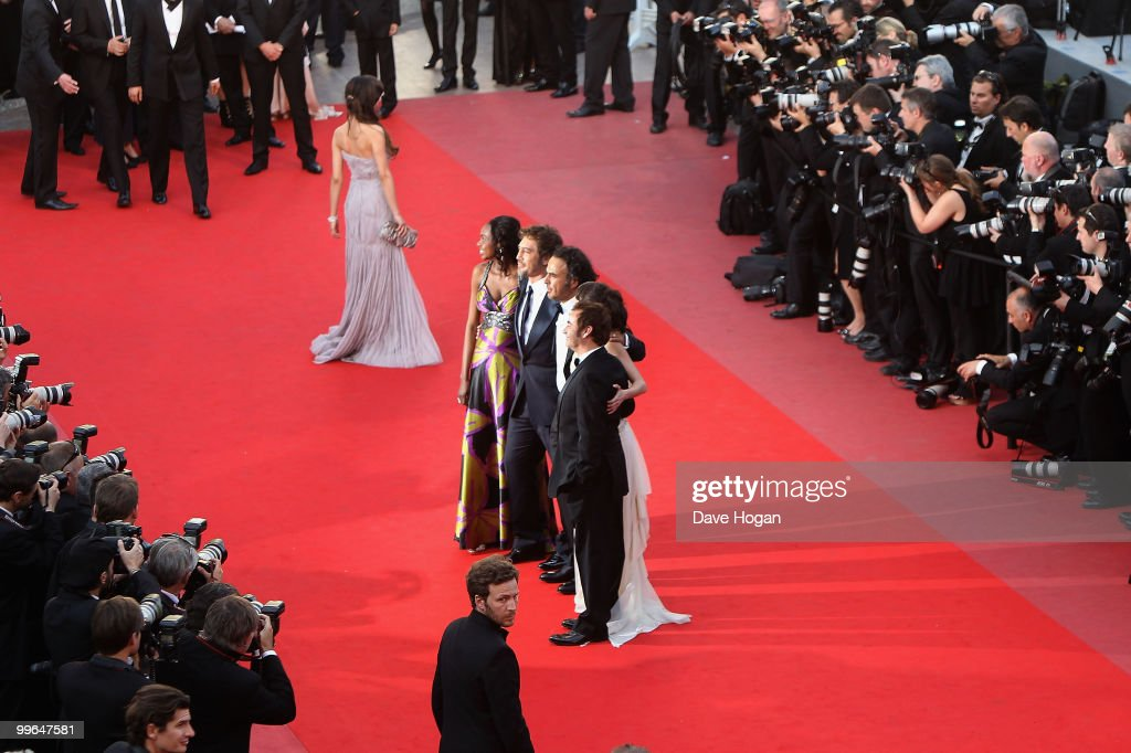 Actor Javier Bardem, Diaryatou, director Alenjandro Gonzalez Inarritu, actress Maricel Alvarez, Eduardo Fernandez and Martina Garcia attend 'Biutiful' Premiere at the Palais des Festivals during the 63rd Annual Cannes Film Festival on May 17, 2010 in Cannes, France.