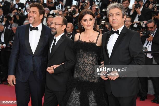 Actor Javier Bardem director Asghar Farhadi actress Penelope Cruz wearing jewels by Atelier Swarovski Fine Jewelry and actor Ricardo Darin attends...