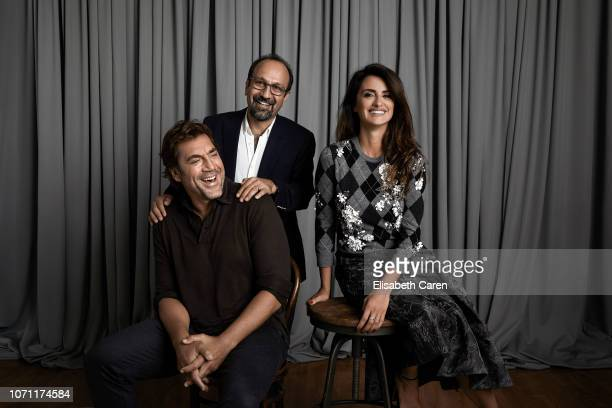 Actor Javier Bardem director Asghar Farhadi and actress Penelope Cruz from Everybody Knows are photographed for The Wrap on September 7 2018 at the...