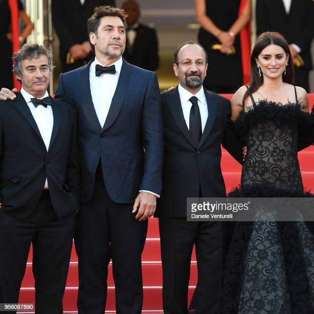 Actor Javier Bardem director Asghar Farhadi and actress Penelope Cruz wearing jewels by Atelier Swarovski Fine Jewelry attends the screening of...