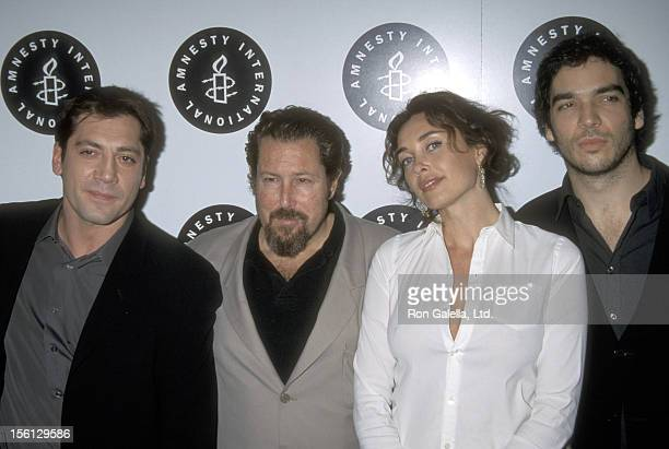 Actor Javier Bardem, Director Julian Schnabel and wife Olatz Lopez Garmendia and Actor Andrea Di Stefano attend the 'Before Night Falls' Beverly...