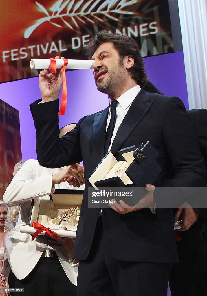 Actor Javier Bardem poses after winning the Best Actor during the Palme d'Or Award Ceremony held at the Palais des Festivals during the 63rd Annual Cannes Film Festival on May 23, 2010 in Cannes, France.