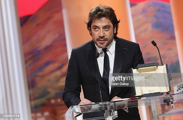 Actor Javier Bardem speaks after winning the Best Actor for his role in 'Biutiful' during the Palme d'Or Award Ceremony held at the Palais des...