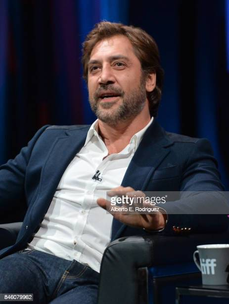 Actor Javier Bardem speaks onstage at the In Conversation With Javier Bardem event during the 2017 Toronto International Film Festival at Glenn Gould...