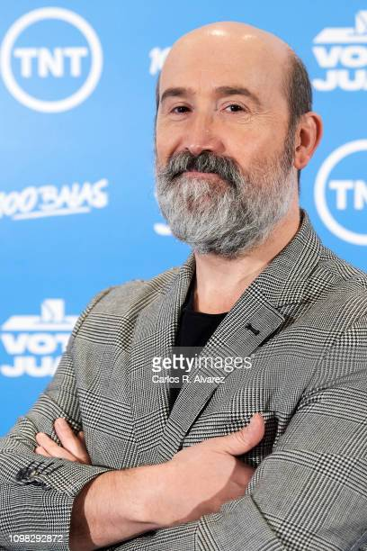 Actor Javier Camara and actress Maria Pujalte attend 'Vota Juan' photocall at Academia de Cine on January 23 2019 in Madrid Spain