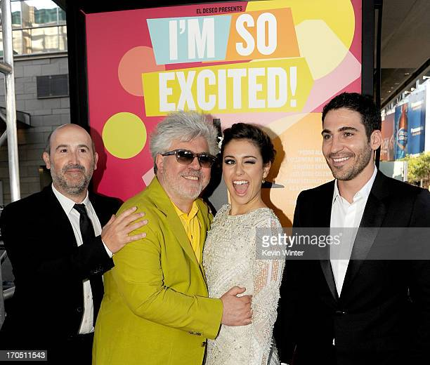Actor Javier Camara director Pedro Almodovar actors Blanca Suarez and Miguel Angel Silvestre arrive at the premiere of Sony Pictures Classics I'm So...