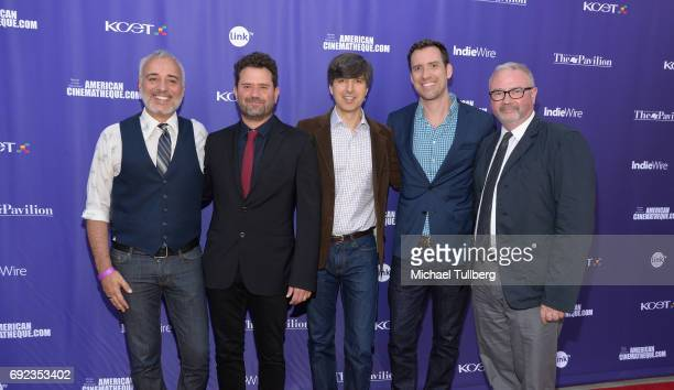 Actor Javier FuentesLeon Juan Davis actor Demetri Martin KCETLink CEO Michael Riley and Simon Kilmurry attend a screening of the winners of the Fine...