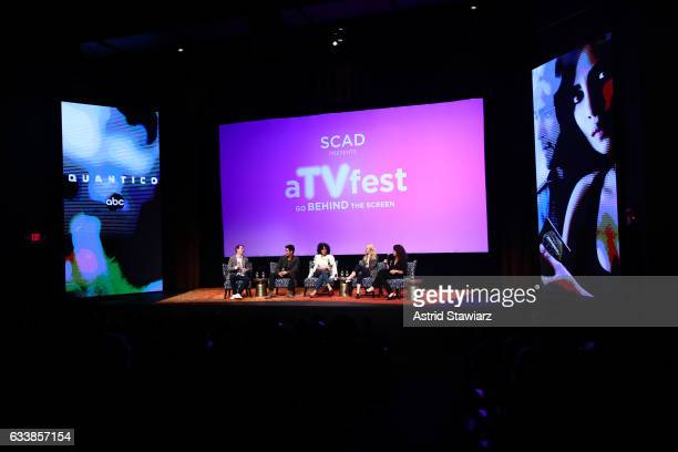 Actor Jay Armstrong Johnson Actor David Lim Actress Pearl Thusi Actress Johanna Braddy and Moderator Debra Birnbaum speak at a QA for 'Quantico' on...